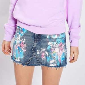 Topshop Splatter Paint Denim Skirt